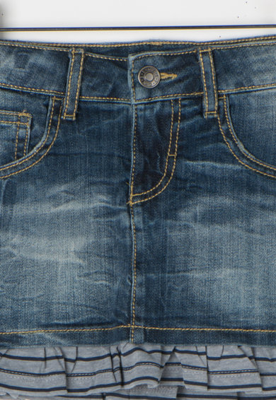 United Colors of Benetton Fusta multicolora din denim cu insertii valurite Fete