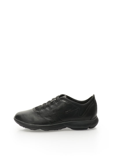 Geox Черни кожени спортни обувки без връзки Мъже