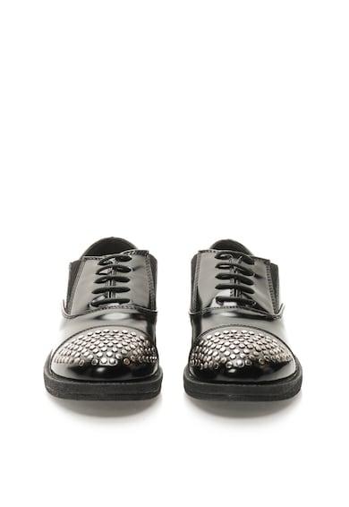 Francesco Milano Fekete Lakkozott Cipő Szegecsekkel női