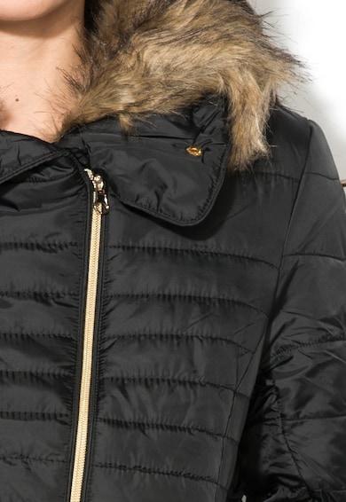 Blend She Fabia Fekete Kabát Levehető Szőrme Gallérral női