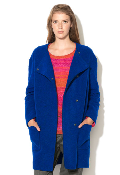United Colors of Benetton Haina albastru royal din amestec cu lana Femei