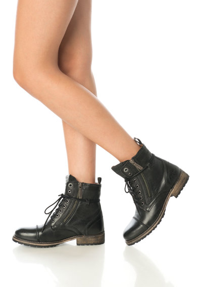 Pepe Jeans London Fekete női bőrbakancs oldalcipzárral női