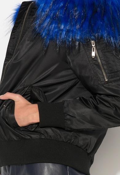 Zee Lane Denim Fekete Kabát Királykék Műszőrme Szegéllyel női