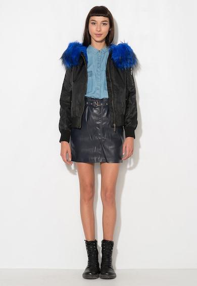 Zee Lane Denim Jacheta neagra cu garnitura albastra din blana sintetica Femei
