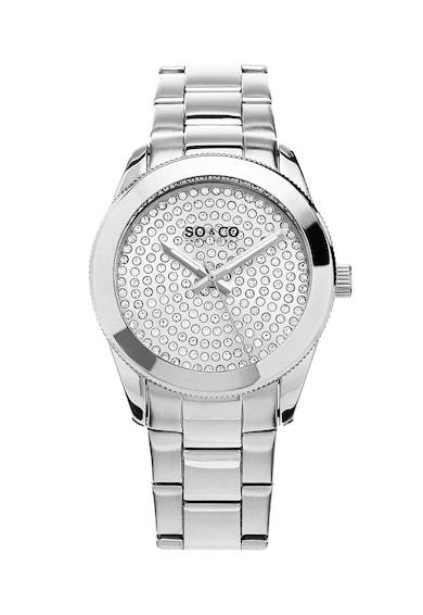 SO&CO New York Ceas metali cu un cadran decorat cu cristale Femei