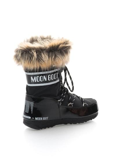 Moon Boot Fekete Téli Csizma Műszőrme Szegéllyel női