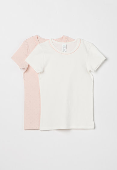 Undercolors of Benetton Set de tricouri roz pal cu alb - 2 piese Fete