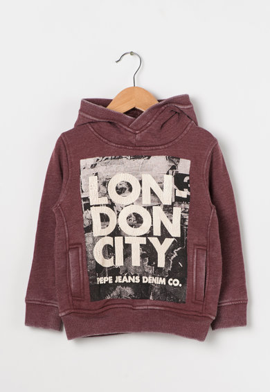 Pepe Jeans London Hanorac Bordeaux cu aspect decolorat Stephen Baieti