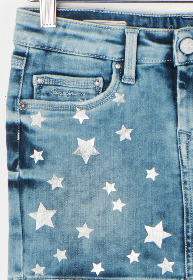 Pepe Jeans London Fusta albastra decolorata din denim Twinkle Fete