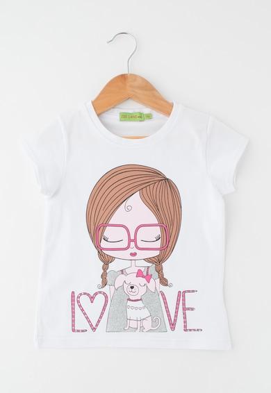 Zee Lane Kids Детска бяла тениска с гумирана щампа Момичета