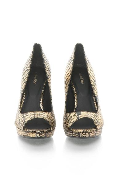 Calvin Klein Pollina Fekete & Aranyszín Bőrcipő Kígyóbőr Mintával női