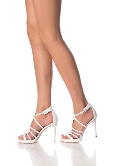 Calvin Klein Sandale albe din piele cu barete Gayle Femei