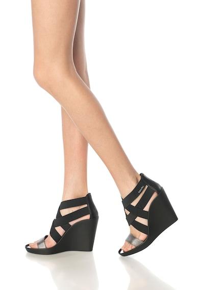 Calvin Klein Sandale negre cu platforma wedge si benzi elastice Nuria Femei