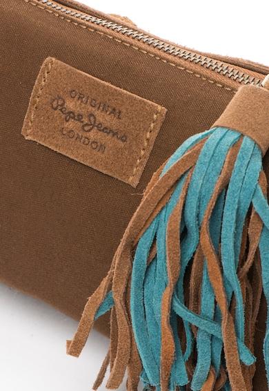 Pepe Jeans London Geanta plic maro cu albastru de piele intoarsa Kathi Femei
