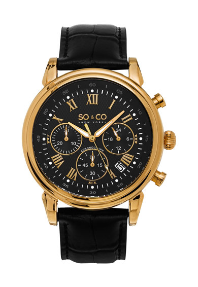 SO&CO New York Ceas negru cronograf Monticello Barbati