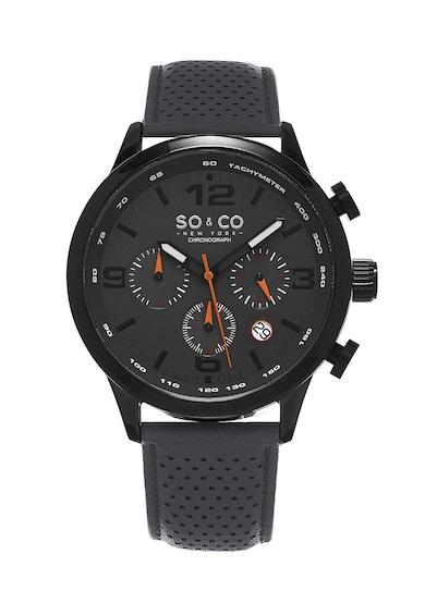 SO&CO New York Ceas cronograf negru cu gri inchis Monticello Barbati