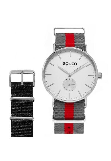 SO&CO New York Сребрист часовник с допълнителна каишка Мъже