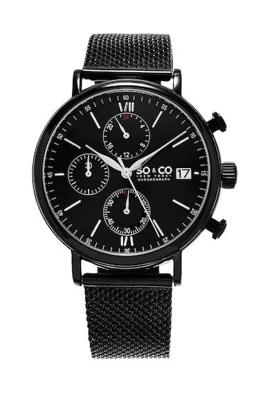 SO&CO New York Ceas cronograf negru Monticello Barbati