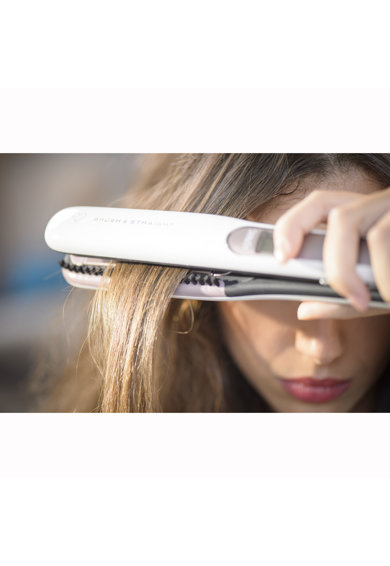 Rowenta Преса за коса   Brush&Straight Premium Care, LCD, 130 - 200 °C, Сменяеми плочи, Йонизатор, Cashmere Keratin, Бяла/Лилава Жени