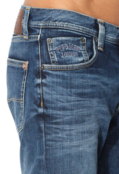 Pepe Jeans London Jeansi slim fit albastri cu aspect decolorat Cane Barbati