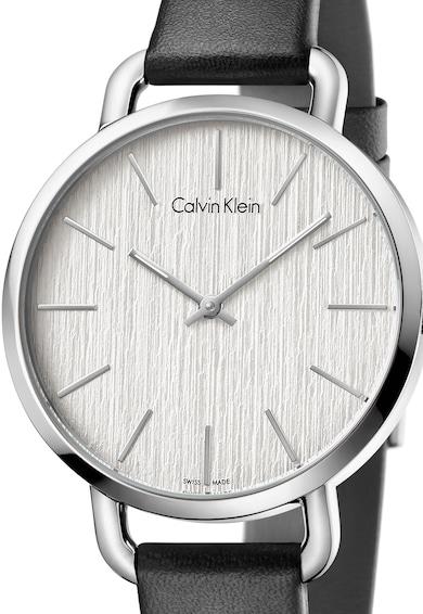 CALVIN KLEIN Черен часовник с кожена каишка Жени
