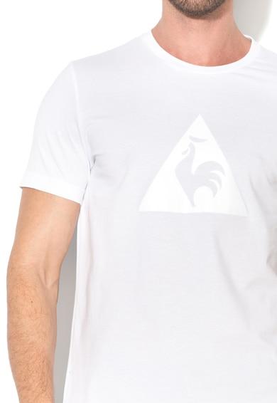 Le Coq Sportif Tricou alb cu decolteu la baza gatului si logo frontal Barbati