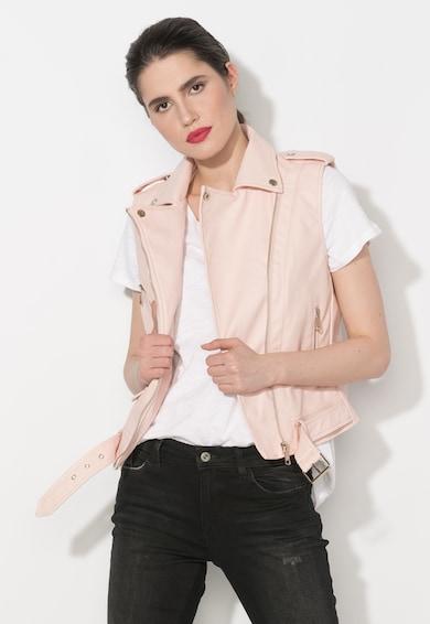 Zee Lane Denim Vesta biker roz pal de piele sintetica Femei