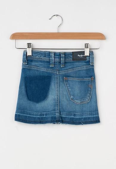 Pepe Jeans London Fusta albastra din denim cu aspect decolorat Dana Fete