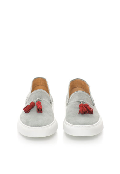 Zee Lane Pantofi slip-on gri de piele intoarsa cu canafi Barbati