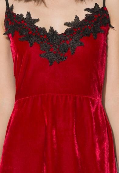 Zee Lane Collection Rochie rosie catifelata cu insertie de dantela Femei