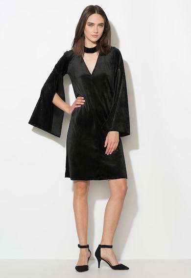 Zee Lane Collection Rochie neagra catifelata cu maneci evazate si cu slituri Femei
