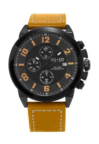 SO&CO New York Ceas cronograf galben miere cu negru Monticello, pentru barbati,   Barbati
