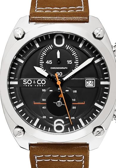 SO&CO New York Мъжки часовник Monticello, Хронограф, Кафяв/Сребрист,   Мъже
