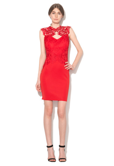 Lipsy London Червена рокля по тялото с дантела Жени