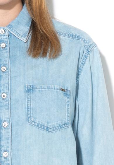 Pepe Jeans London Camasa bleu de chambray cu margini franjurate Prairie Femei