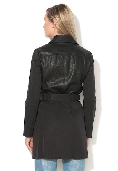 Sisley Fekete Műbőr Kabát Lyocell Tartalmú Betétekkel női