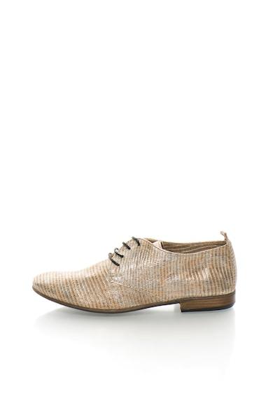 Sisley Pantofi derby aurii de piele texturata Femei