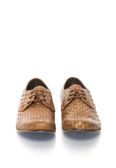 Zee Lane Collection Кафяви кожени обувки с плетен дизайн Мъже