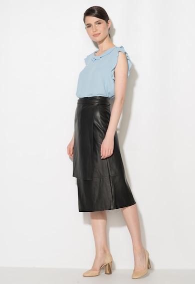 Zee Lane Collection Fusta asimetrica neagra de piele sintetica Femei