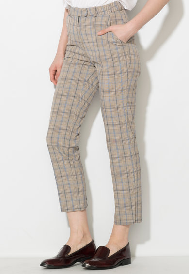 Zee Lane Denim Pantaloni in nuante de gri cu albastru in carouri Femei