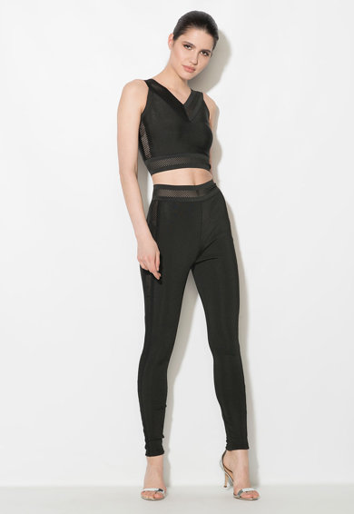 Zee Lane Denim Top crop bodycon negru cu detalii perforate Femei