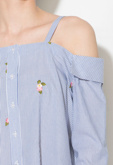 Zee Lane Denim Раирана риза с отвори на рамене Жени