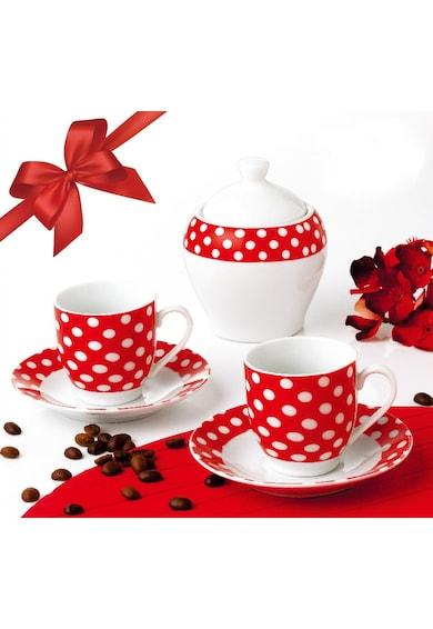 OTI Serviciu de cafea  portelan, 6 piese, model cu buline Rosu Femei