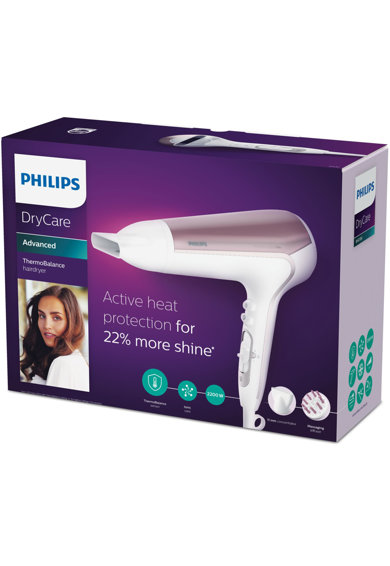 Philips Uscator de par  DryCare BHD186/00, 2200 W, Ionizare, 6 Setari temperatura si viteza, ThermoBalance + Cool shot, Alb Femei