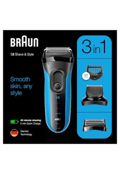 Braun Aparat de ras electric  Series 3 3010BT ProSkin Wet&Dry, MicroComb, cap de tuns, 5 piepteni, Saculet de calatorie,Negru/Albastru Barbati