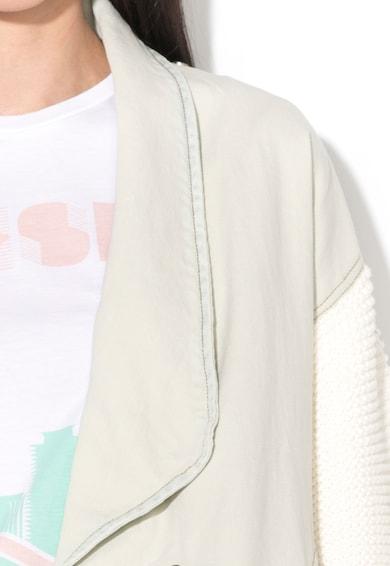 Diesel Jacheta alb prafuit din tricot si denim Techny Femei