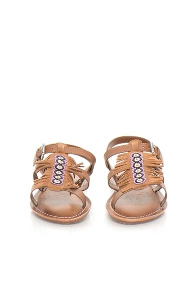 Pepe Jeans London Детски велурени сандали в кафяво с ресни Момичета