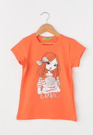 Zee Lane Kids Tricou oranj mandarina cu imprimeu frontal Baieti