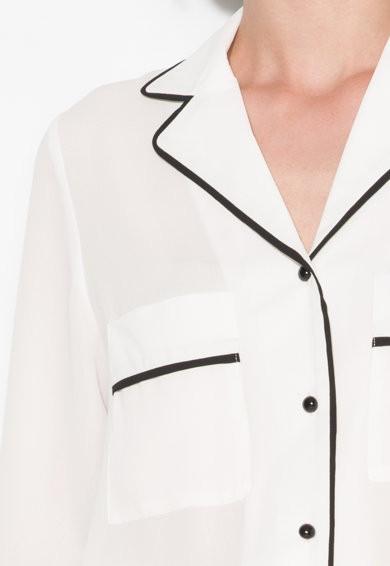 Zee Lane Collection Camasa alba cu garnituri negre Femei