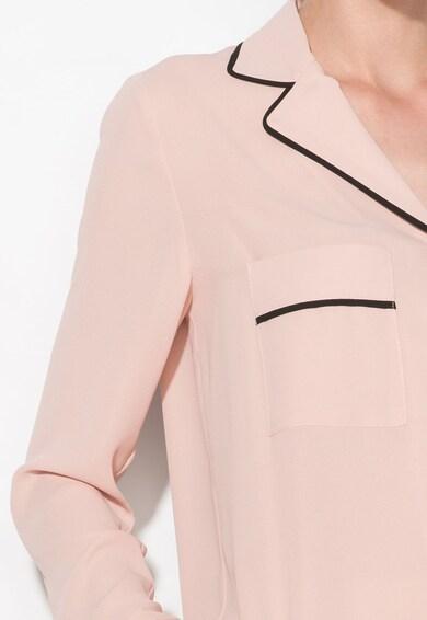 Zee Lane Collection Camasa roz pastel cu garnituri negre Femei